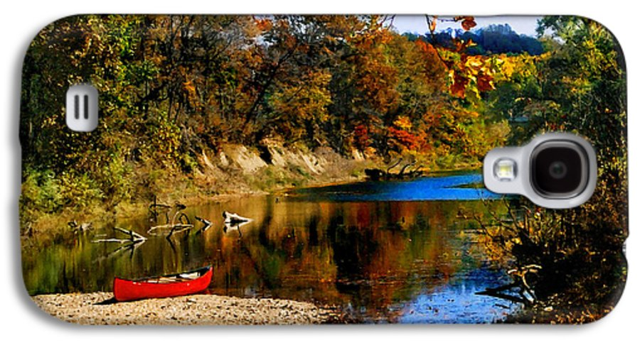 Autumn Galaxy S4 Case featuring the photograph Canoe On The Gasconade River by Steve Karol