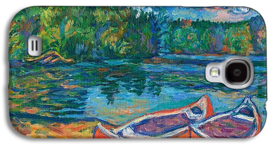 Landscape Galaxy S4 Case featuring the painting Canoes At Mountain Lake Sketch by Kendall Kessler
