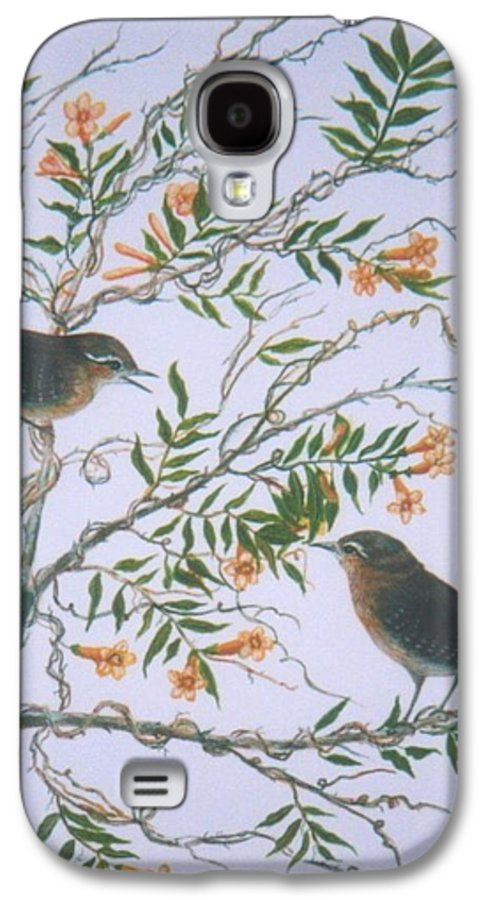 Bird; Flowers Galaxy S4 Case featuring the painting Carolina Wren And Jasmine by Ben Kiger
