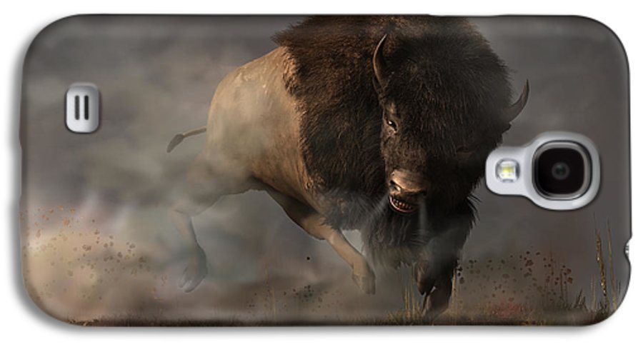 Thunderbeast Galaxy S4 Case featuring the digital art Charging Bison by Daniel Eskridge