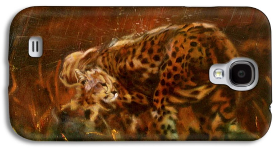 Rain;water;cats;africa;wildlife;animals;mother;shelter;brush;bush Galaxy S4 Case featuring the painting Cheetah Family After The Rains by Sean Connolly