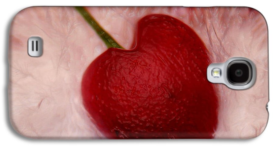 Heart Artred Cherry Heart Galaxy S4 Case featuring the photograph Cherry Heart by Linda Sannuti