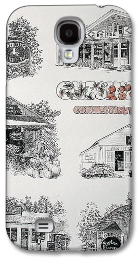 Connecticut Chechire Ct Architecture Buildings New England Galaxy S4 Case featuring the painting Cheshire Landmarks by Tony Ruggiero