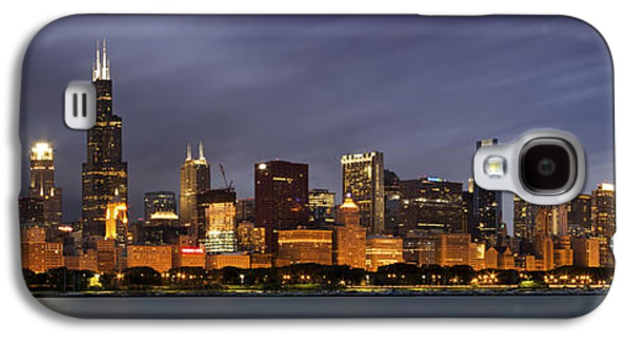3scape Photos Galaxy S4 Case featuring the photograph Chicago Skyline At Night Color Panoramic by Adam Romanowicz