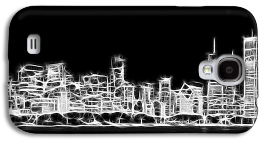 Chicago Galaxy S4 Case featuring the photograph Chicago Skyline Fractal Black And White by Adam Romanowicz