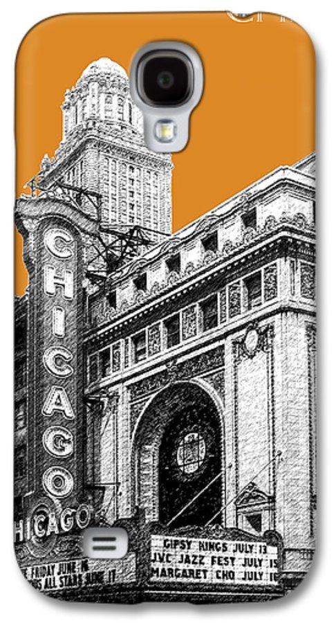 Architecture Galaxy S4 Case featuring the digital art Chicago Theater - Dark Orange by DB Artist