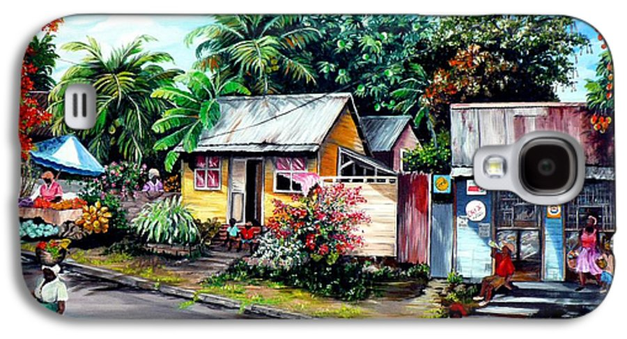 Landscape Painting Caribbean Painting Shop Trinidad Tobago Poinciana Painting Market Caribbean Market Painting Tropical Painting Galaxy S4 Case featuring the painting Chins Parlour   by Karin Dawn Kelshall- Best