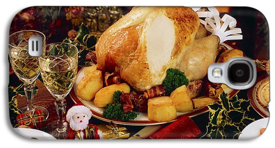 Christmas Galaxy S4 Case featuring the photograph Christmas Turkey Dinner With Wine by The Irish Image Collection