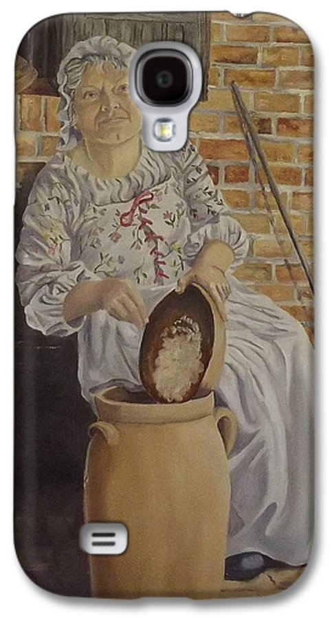 Historic Galaxy S4 Case featuring the painting Churning Butter by Wanda Dansereau
