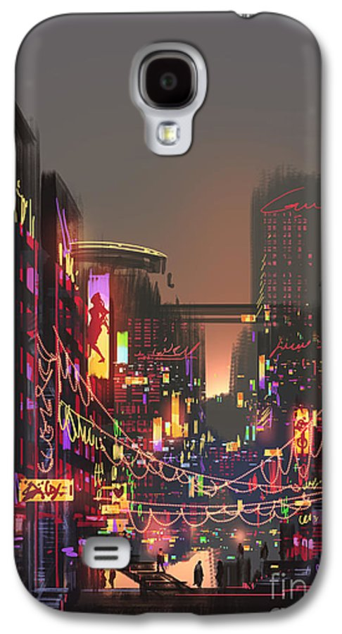 Decorate Galaxy S4 Case featuring the digital art Cityscape Digital Painting Of Building by Tithi Luadthong