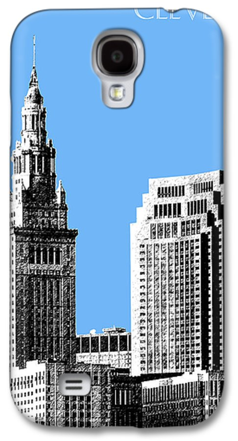 Architecture Galaxy S4 Case featuring the digital art Cleveland Skyline 1 - Light Blue by DB Artist