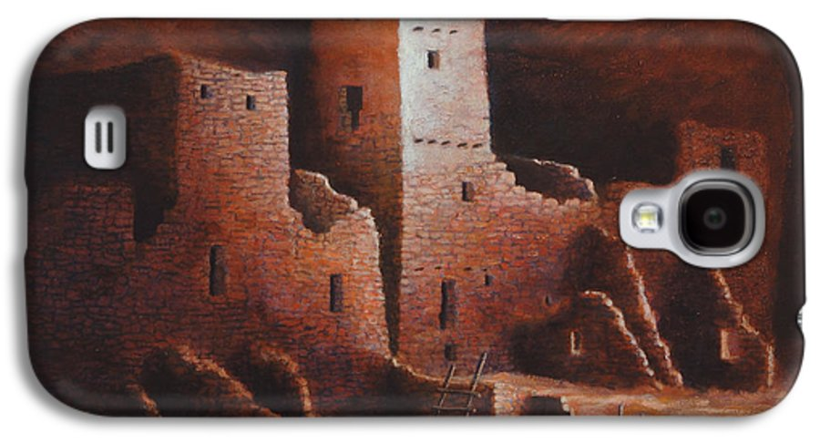 Anasazi Galaxy S4 Case featuring the painting Cliff Palace by Jerry McElroy