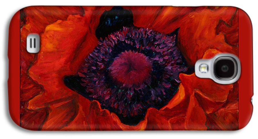 Red Poppy Galaxy S4 Case featuring the painting Close Up Poppy by Billie Colson
