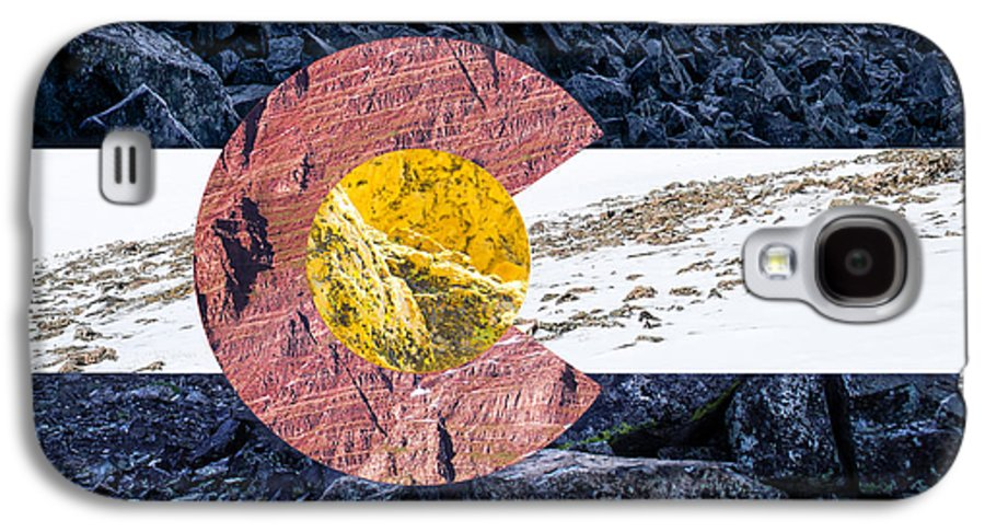 Colorado Galaxy S4 Case featuring the photograph Colorado State Flag With Mountain Textures by Aaron Spong