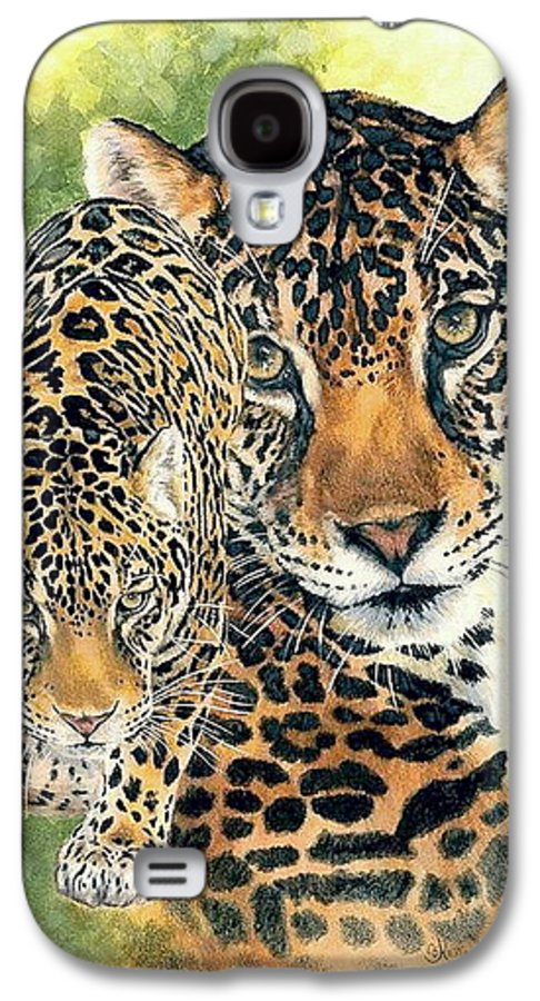 Jaguar Galaxy S4 Case featuring the mixed media Compelling by Barbara Keith