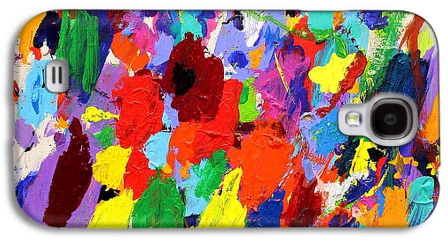 Abstract Galaxy S4 Case featuring the painting Cornucopia Of Colour I by John Nolan