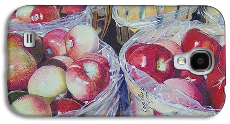 Apple Galaxy S4 Case featuring the mixed media Cortland Apples by Constance Drescher