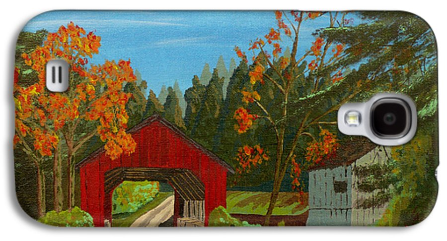 Path Galaxy S4 Case featuring the painting Covered Bridge by Anthony Dunphy