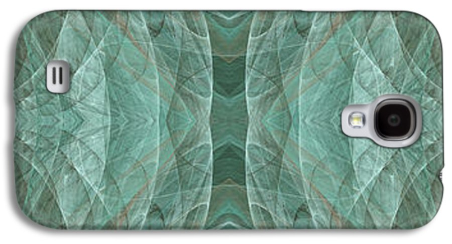 Abstract Galaxy S4 Case featuring the digital art Crashing Waves Of Green 1 - Panorama - Abstract - Fractal Art by Andee Design