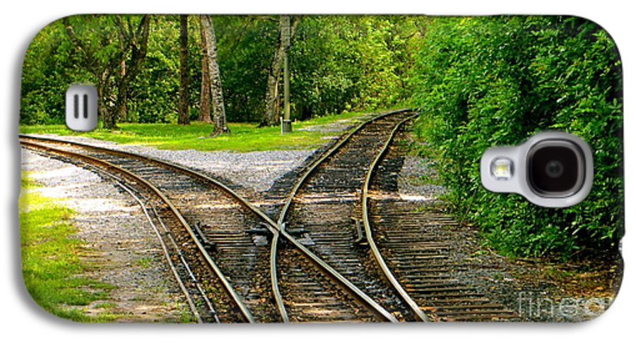 Railroads Galaxy S4 Case featuring the photograph Crossing The Lines by Joy Hardee