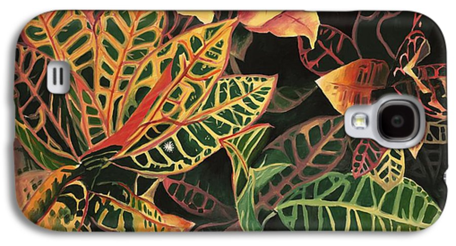 Croton Leaves Galaxy S4 Case featuring the painting Croton Leaves by Judy Swerlick