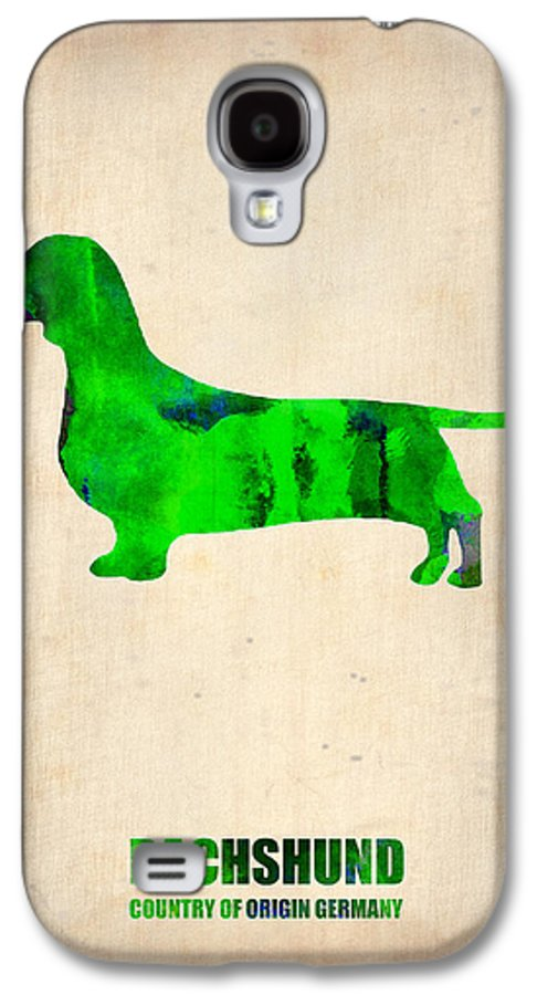 Dachshund Galaxy S4 Case featuring the painting Dachshund Poster 1 by Naxart Studio