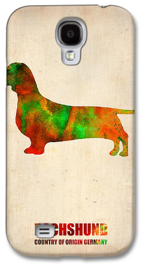 Dachshund Galaxy S4 Case featuring the painting Dachshund Poster 2 by Naxart Studio