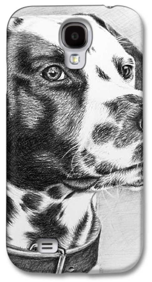 Dog Galaxy S4 Case featuring the drawing Dalmatian Portrait by Nicole Zeug
