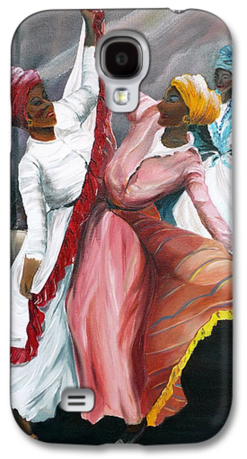 Dancers Folk Caribbean Women Painting Dance Painting Tropical Dance Painting Galaxy S4 Case featuring the painting Dance The Pique 2 by Karin Dawn Kelshall- Best