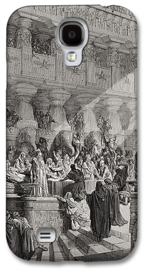 Prophet Galaxy S4 Case featuring the painting Daniel Interpreting The Writing On The Wall by Gustave Dore