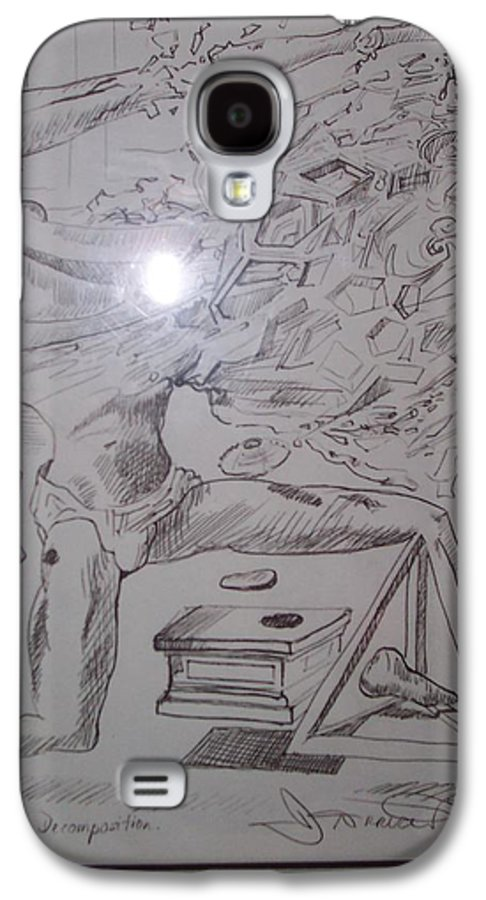 Galaxy S4 Case featuring the painting Decomposition Of Kneeling Man by Jude Darrien