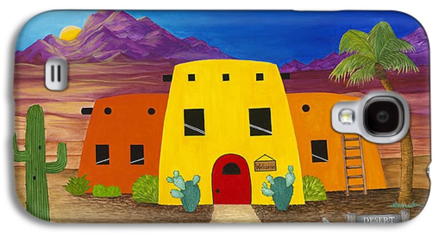 Whimsicle Desert Inn Has Vacancy Galaxy S4 Case featuring the painting Desert Oasis by Carol Sabo