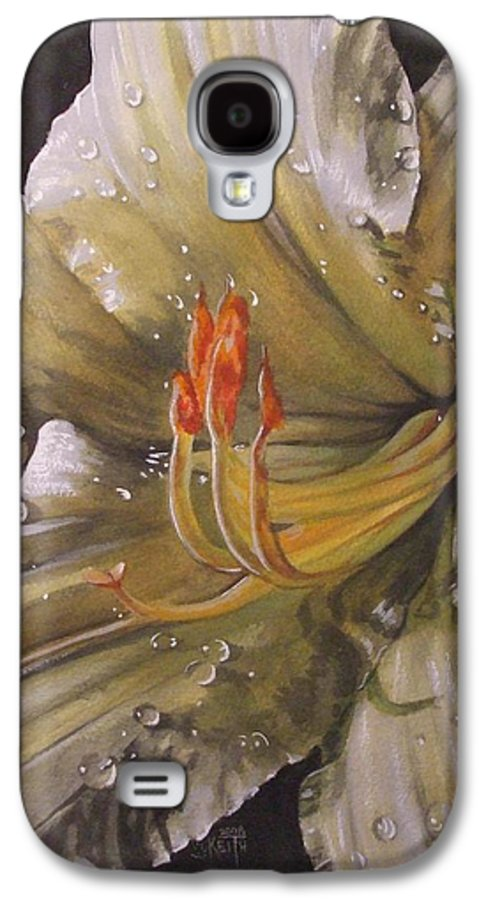 Daylily Galaxy S4 Case featuring the painting Diamonds by Barbara Keith