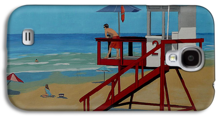 Lifeguard Galaxy S4 Case featuring the painting Distracted Lifeguard by Anthony Dunphy