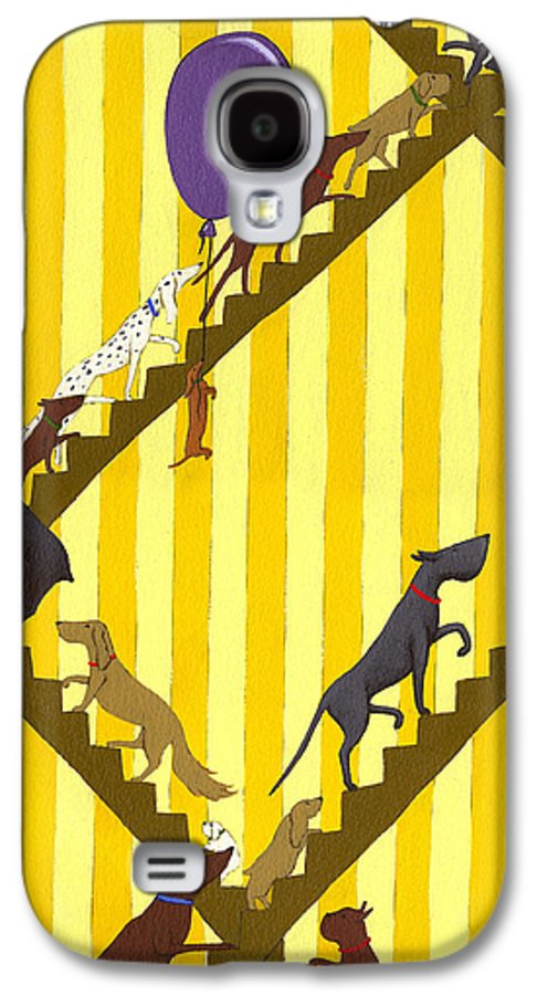 Dog Galaxy S4 Case featuring the painting Dogs Going Up Stairs by Christy Beckwith