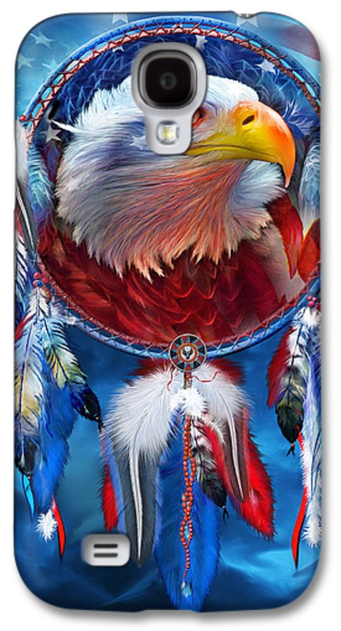 Carol Cavalaris Galaxy S4 Case featuring the mixed media Dream Catcher - Eagle Red White Blue by Carol Cavalaris