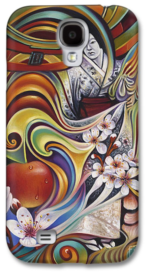 Cherry-blossoms Galaxy S4 Case featuring the painting Dynamic Blossoms by Ricardo Chavez-Mendez
