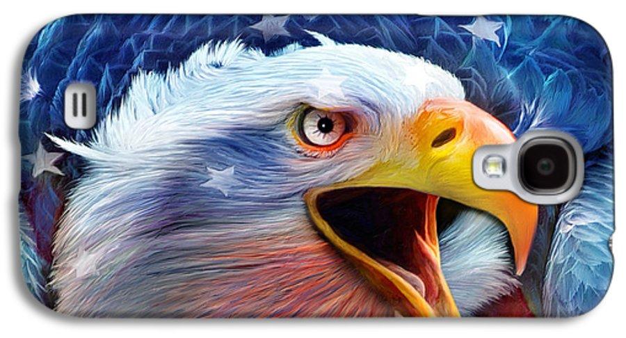 Carol Cavalaris Galaxy S4 Case featuring the mixed media Eagle Red White Blue 2 by Carol Cavalaris
