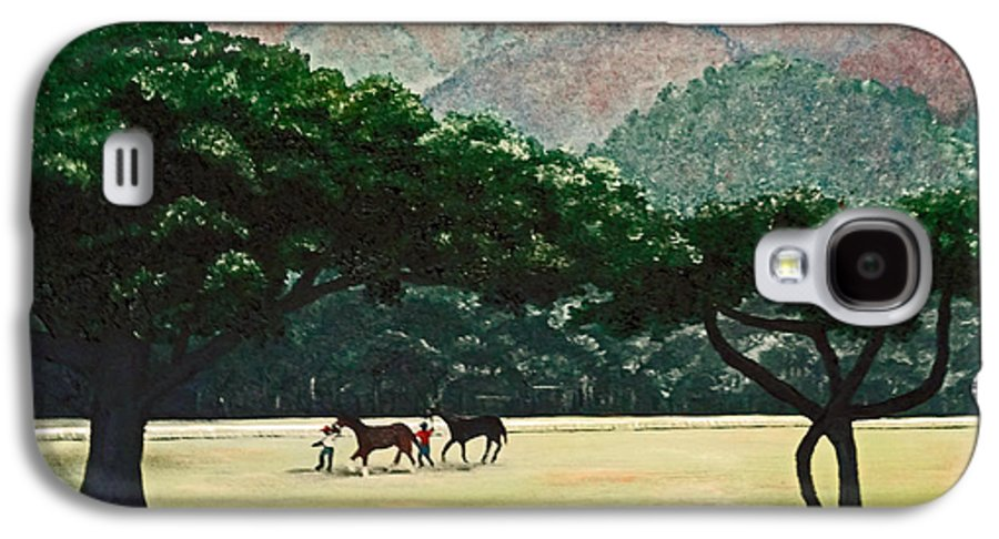 Trees Galaxy S4 Case featuring the painting Early Morning Savannah by Karin Dawn Kelshall- Best