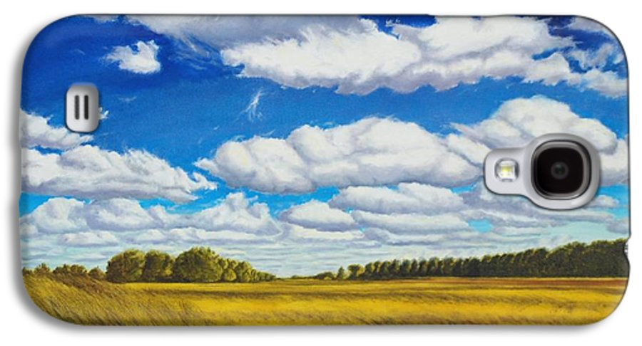 Wheat Galaxy S4 Case featuring the painting Early Summer Clouds by Leonard Heid