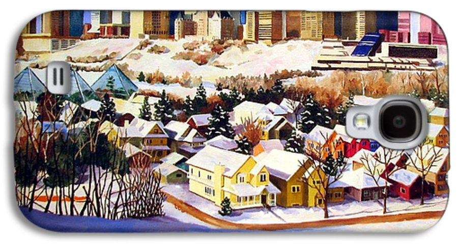 Urbanscape Galaxy S4 Case featuring the painting Edmonton In Winter by Nel Kwiatkowska