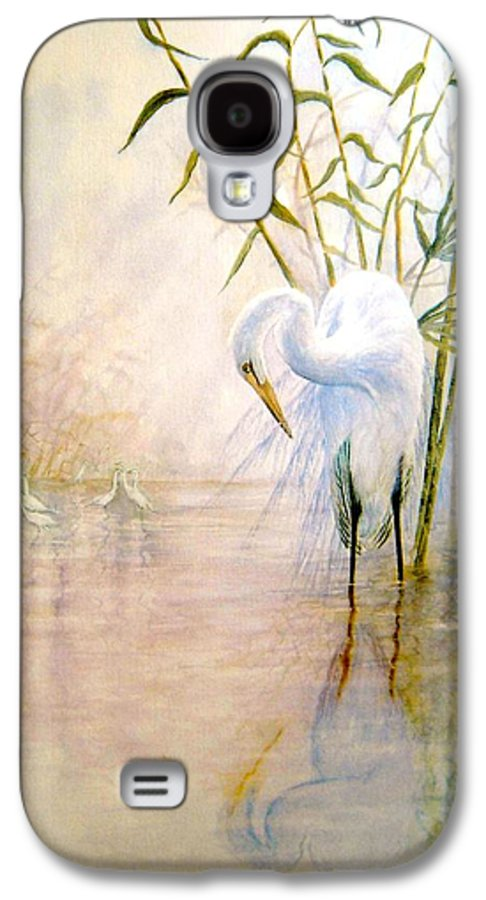 Eret; Bird; Low Country Galaxy S4 Case featuring the painting Egret by Ben Kiger