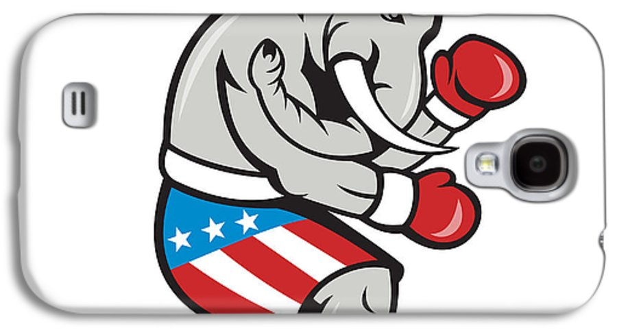 Elephant Galaxy S4 Case featuring the digital art Elephant Mascot Boxer Boxing Side Cartoon by Aloysius Patrimonio