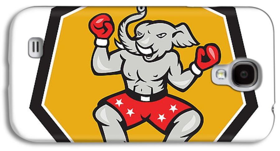 Elephant Galaxy S4 Case featuring the digital art Elephant Mascot Boxer Cartoon by Aloysius Patrimonio