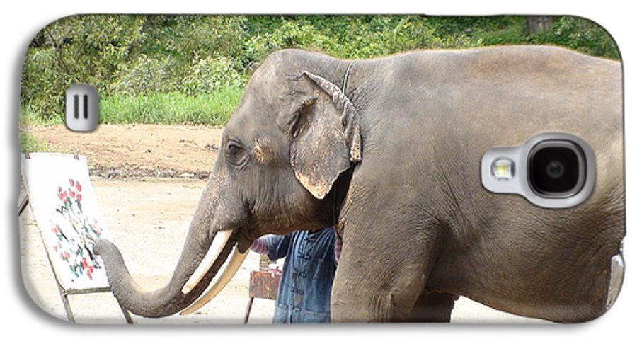 Asian Elephant Galaxy S4 Case featuring the photograph Elephant Srinon Painting Flowers by Colin Smeaton