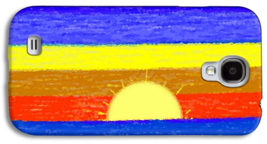 Evening.sky.stars.colors.violet.blue.orange.yellow.red.sea.sunset.sun.sunrays.reflrction. Ater. Galaxy S4 Case featuring the digital art Evening Colors by Dr Loifer Vladimir