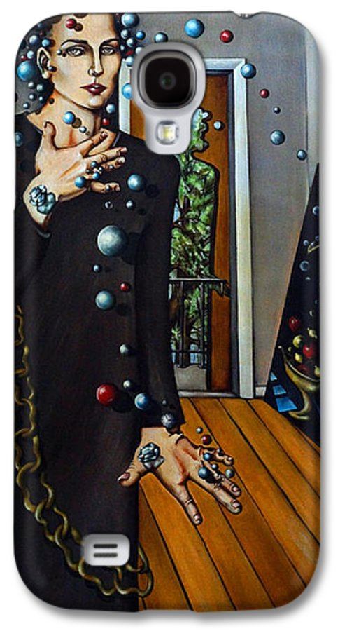 Surreal Galaxy S4 Case featuring the painting Existential Thought by Valerie Vescovi