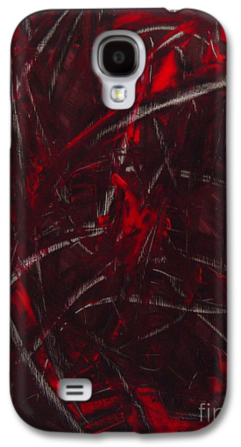 Abstract Galaxy S4 Case featuring the painting Expectations Red by Dean Triolo