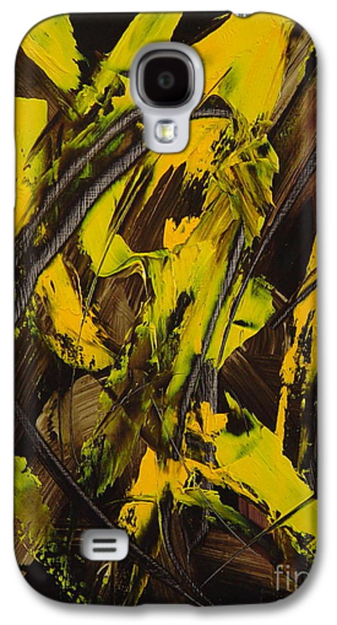 Abstract Galaxy S4 Case featuring the painting Expectations Yellow by Dean Triolo