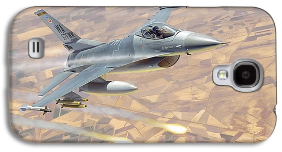 Aviation Galaxy S4 Case featuring the painting F-16 Fighting Falcon by Mark Karvon